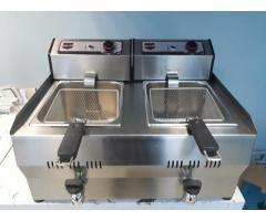 Friteuza inox electrica 2x13 litri de banc cu robineti