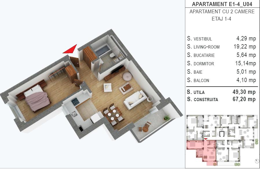 Apartament cu 2 camere in Faleza Nord